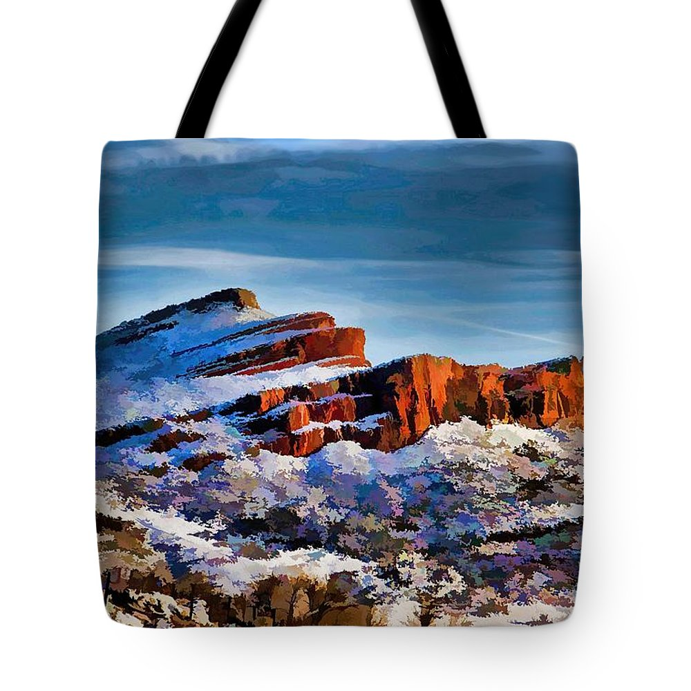 Big Thompson Canyon Tote Bag featuring the photograph Snow On The Hogbacks by Jon Burch Photography