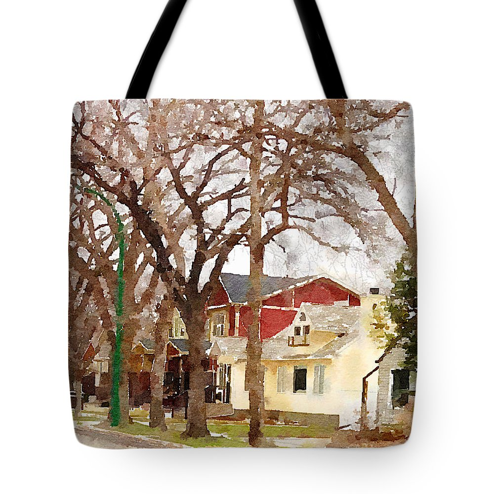 Suburban Scene Tote Bag featuring the photograph Early Spring Street by Donald S Hall