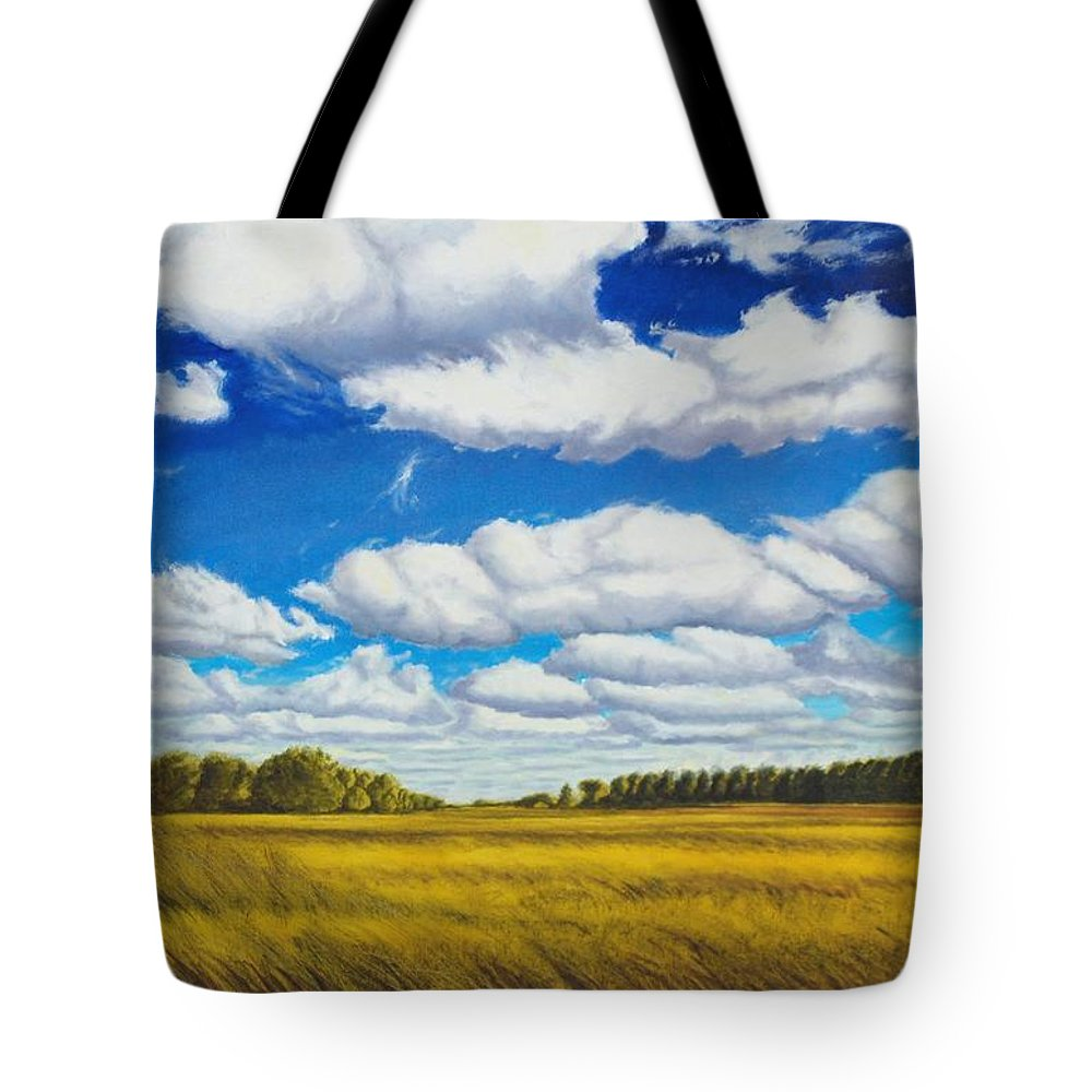 Wheat Tote Bag featuring the painting Early Summer Clouds by Leonard Heid