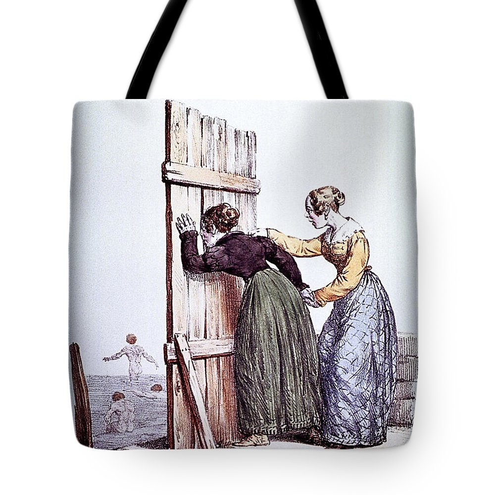 Peeping Tote Bag featuring the photograph Early Victorian Peeping Women by Daniel Hagerman