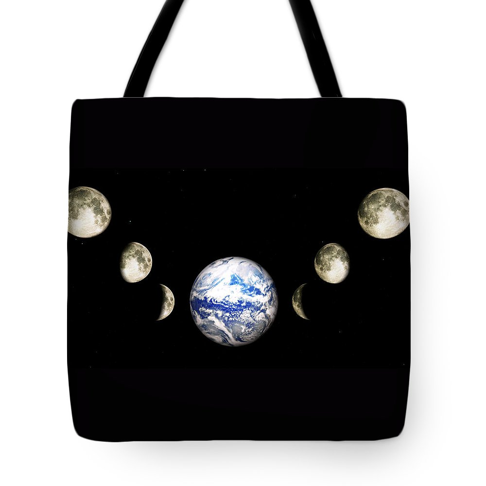 Earth Tote Bag featuring the digital art Earth And Phases Of The Moon by Bob Orsillo