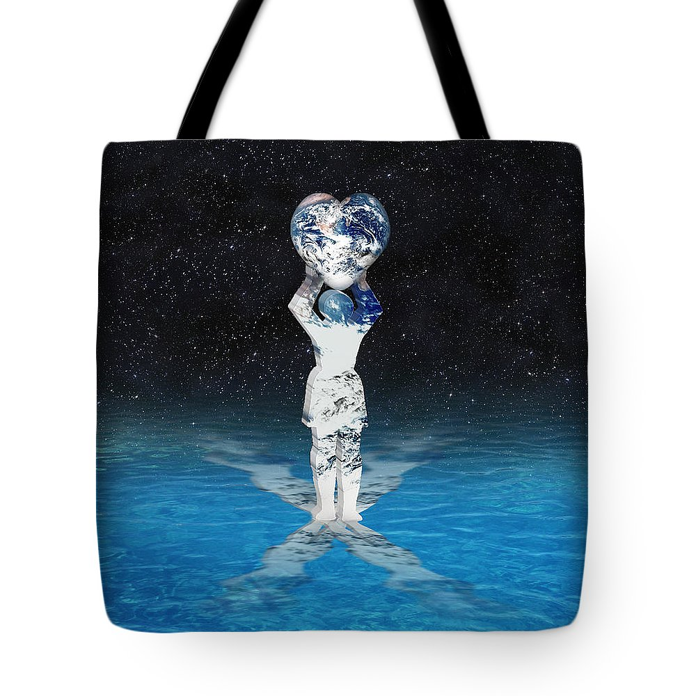 Surreal Tote Bag featuring the digital art Earth Heart Holder by Gravityx9 Designs