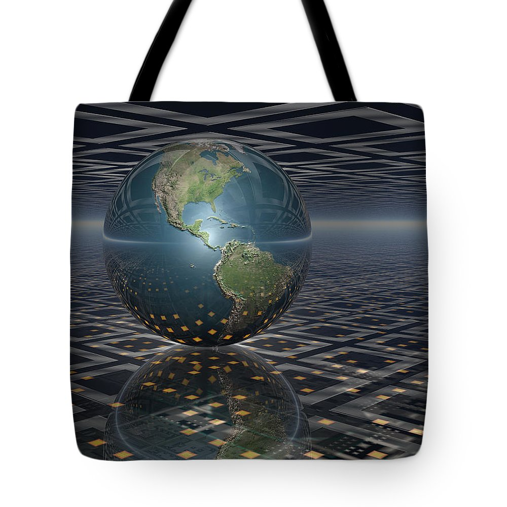 Earth Tote Bag featuring the digital art Earth Horizons by Phil Perkins