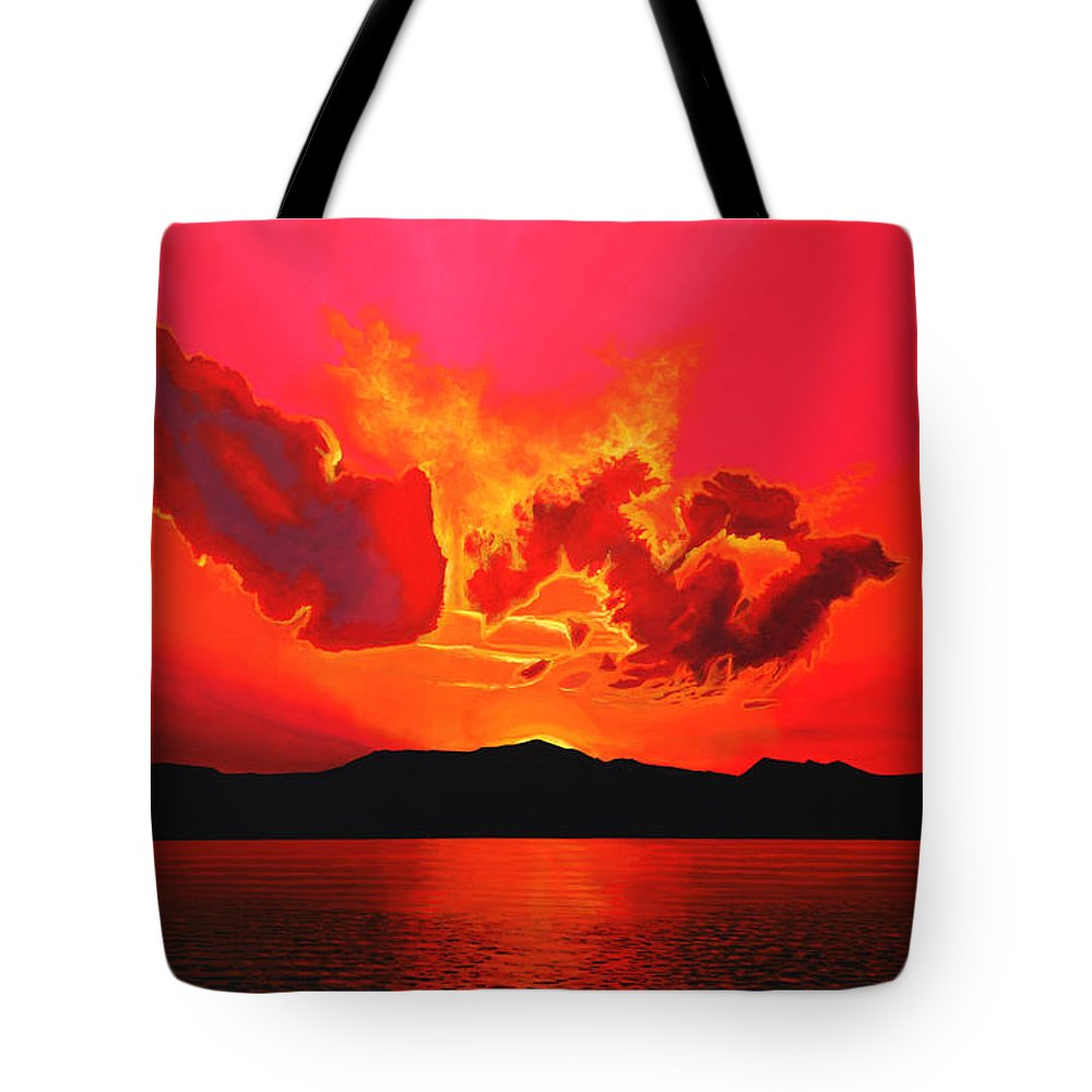 Paul Meijering Tote Bag featuring the painting Earth Sunset by Paul Meijering