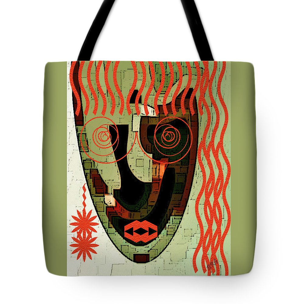 Abstract Face Tote Bag featuring the digital art Earthy Woman by Ben and Raisa Gertsberg