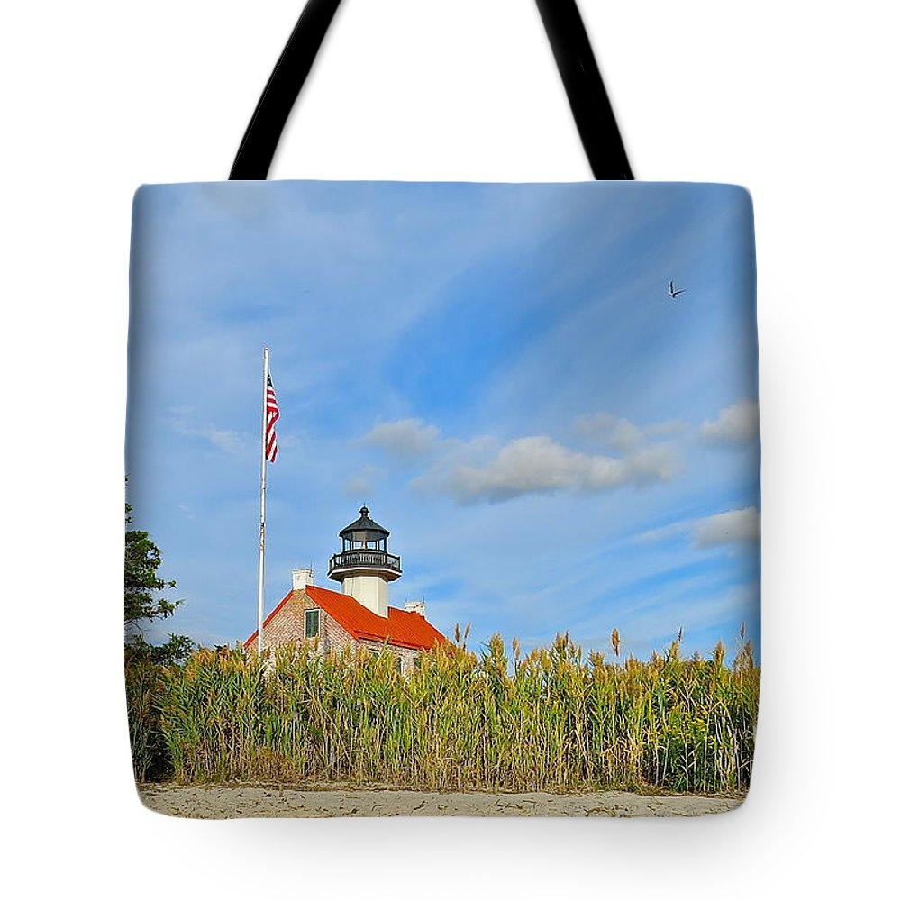 East Point Lighthouse Tote Bag featuring the photograph East Point In September by Nancy Patterson