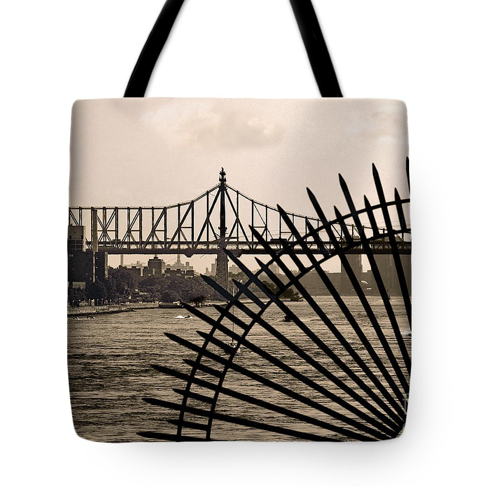 East River Tote Bag featuring the photograph East River View by Madeline Ellis