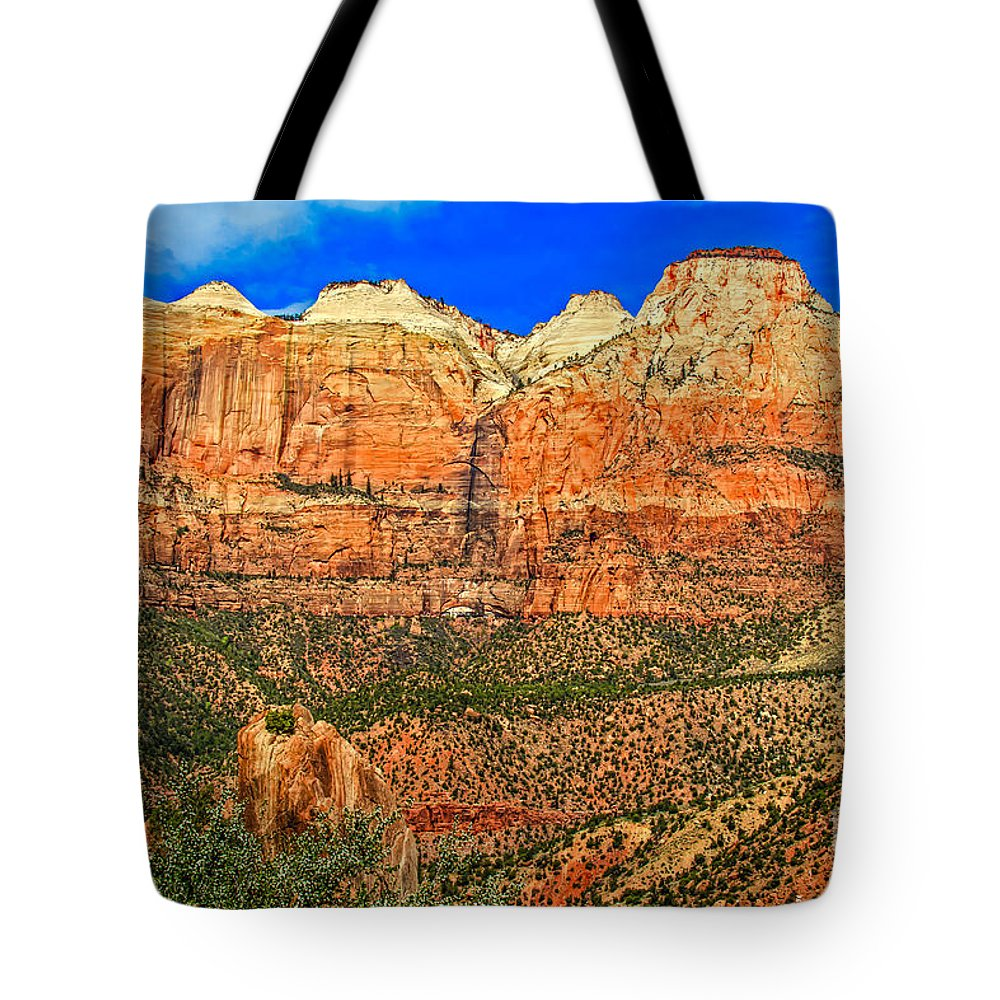 Zion National Park Tote Bag featuring the photograph East Temple by Robert Bales