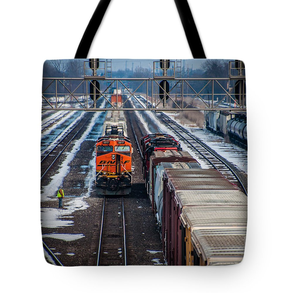 Train Tote Bag featuring the photograph Eastbound And Westbound Trains by Ronald Grogan
