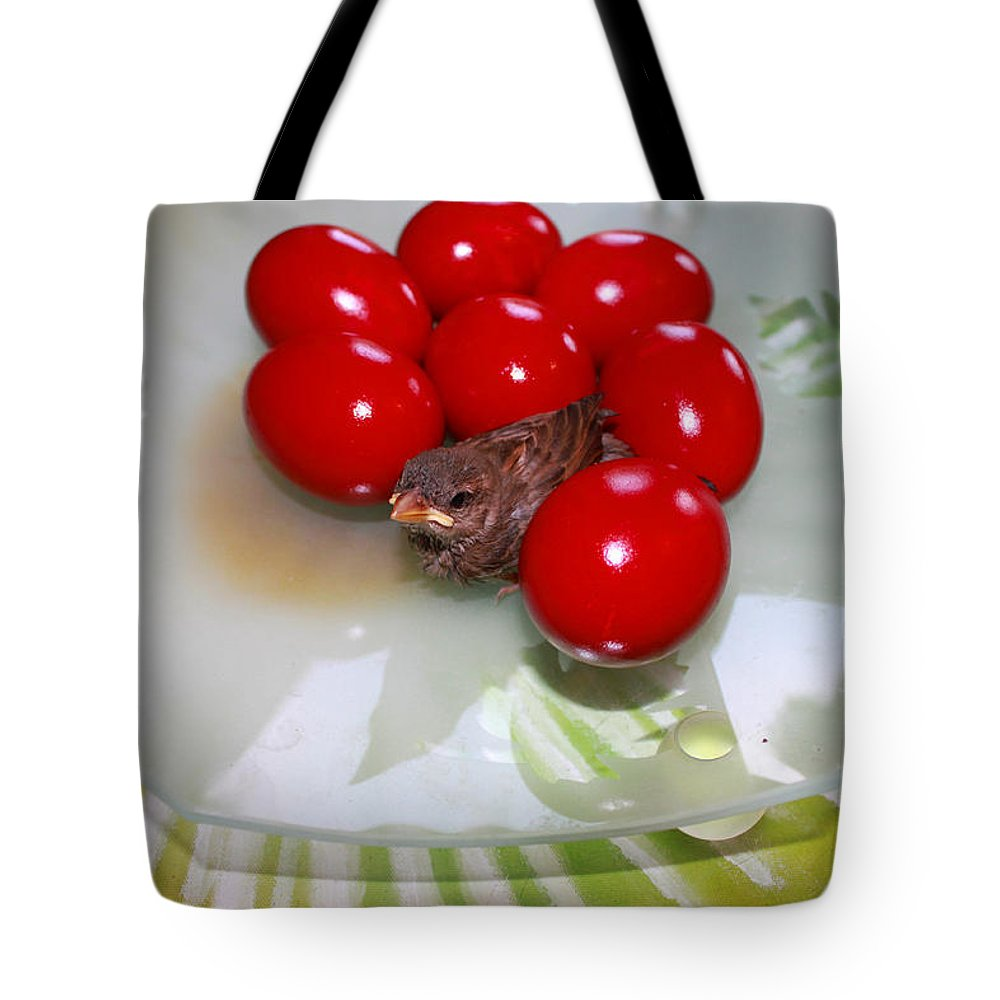 Augusta Stylianou Tote Bag featuring the photograph Easter And Sparrow by Augusta Stylianou