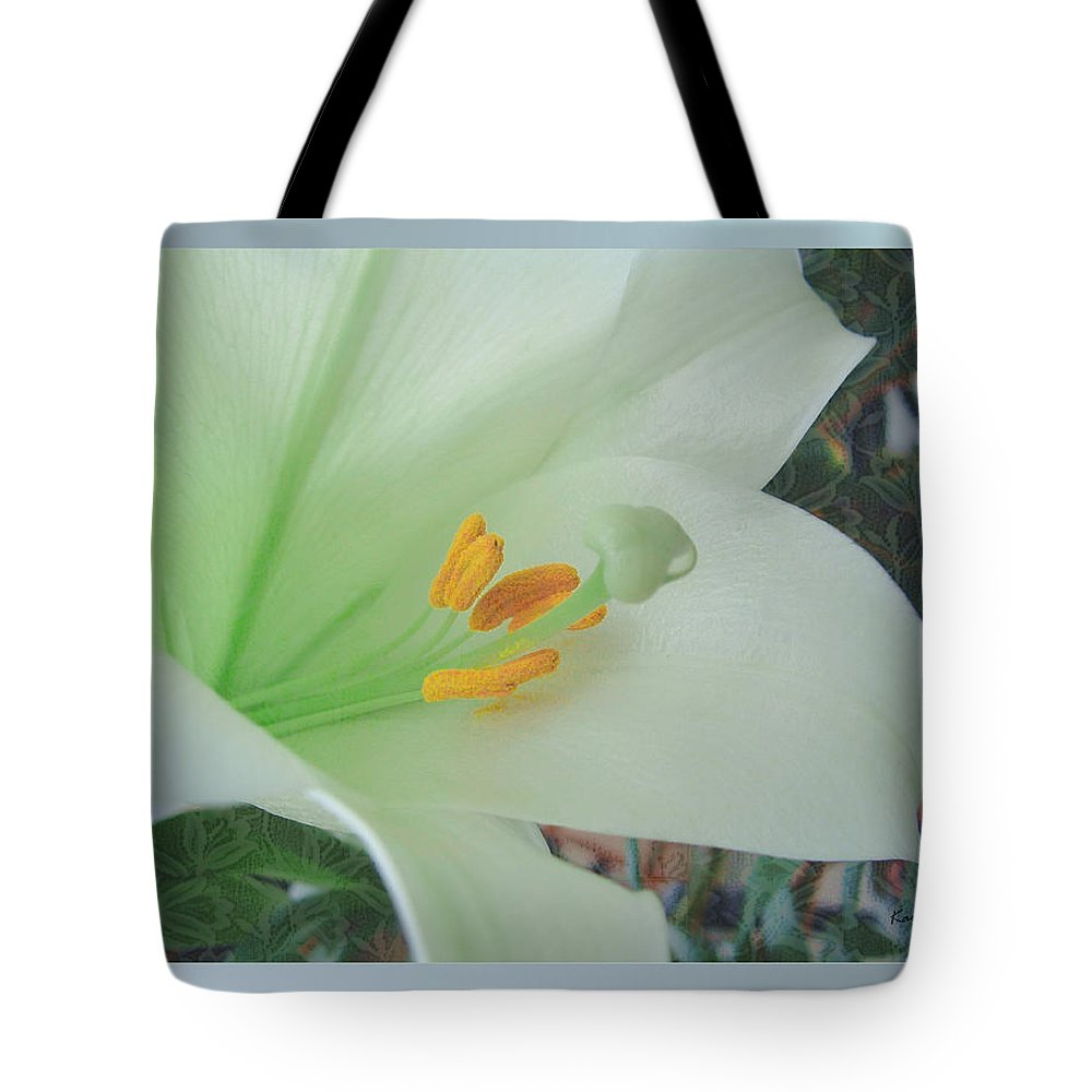Easter Tote Bag featuring the mixed media Easter Lily by Kae Cheatham