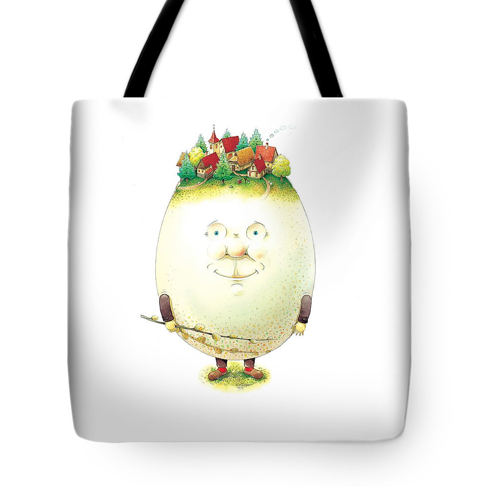 Easter Eggs Spring Green Town Tote Bag featuring the painting Eastereggs 04 by Kestutis Kasparavicius