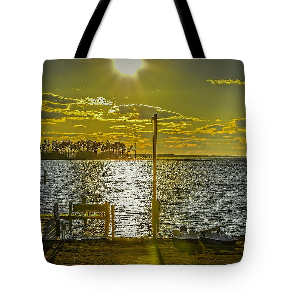 Eastern Shore Tote Bag featuring the photograph Eastern Shore Sunset by John Jack