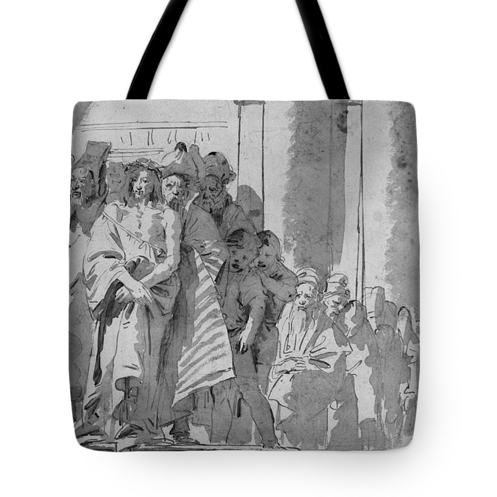 Tiepolo Tote Bag featuring the drawing Ecce Homo by Tiepolo