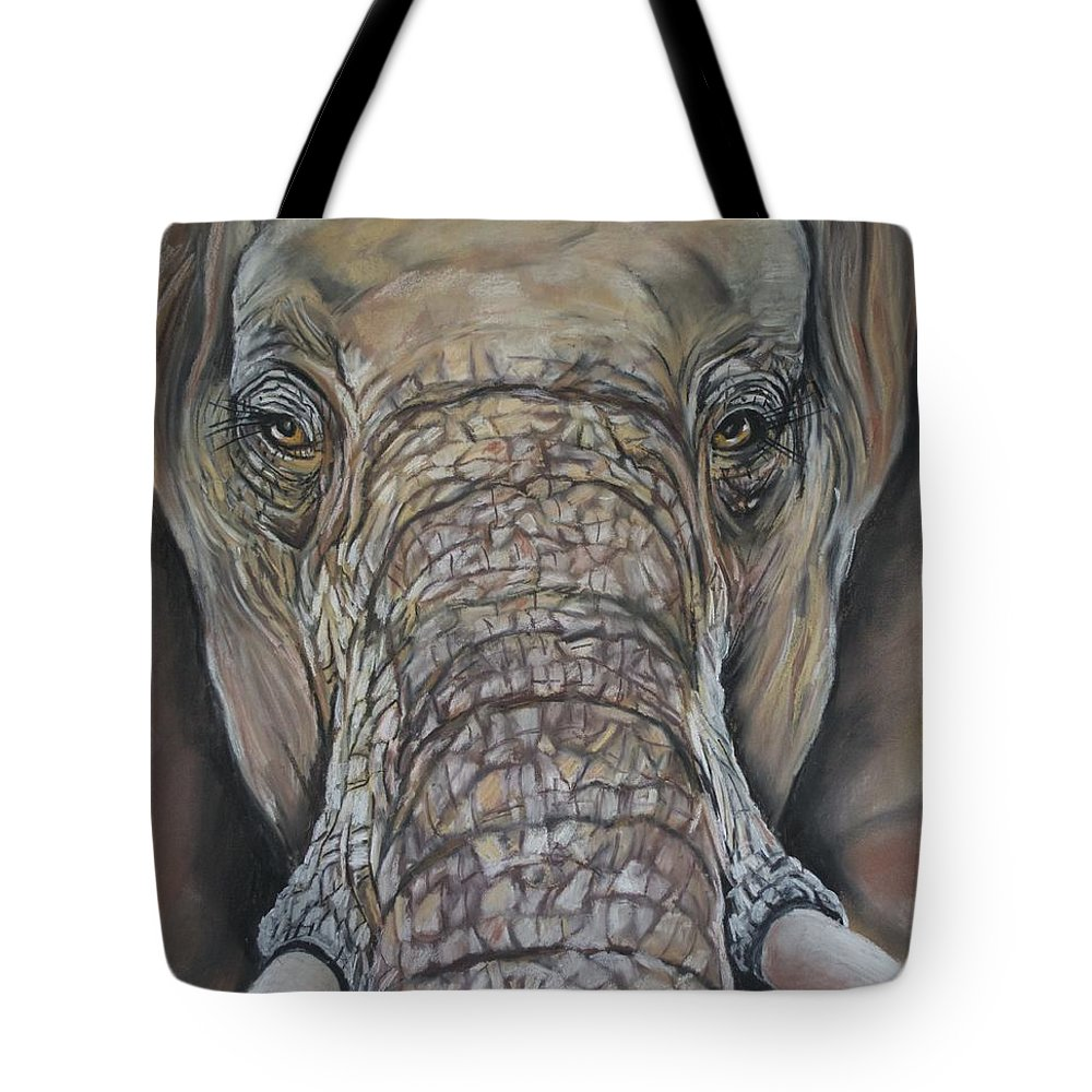 Matriach Elephant Tv Film Amboseli Elephant Research Project Tote Bag featuring the painting Echo Of The Elephants by Cynthia Farr