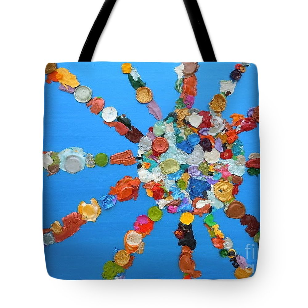 Dried Acrylic Tote Bag featuring the mixed media Eclectic Sun by Pruddygurl Exclusives