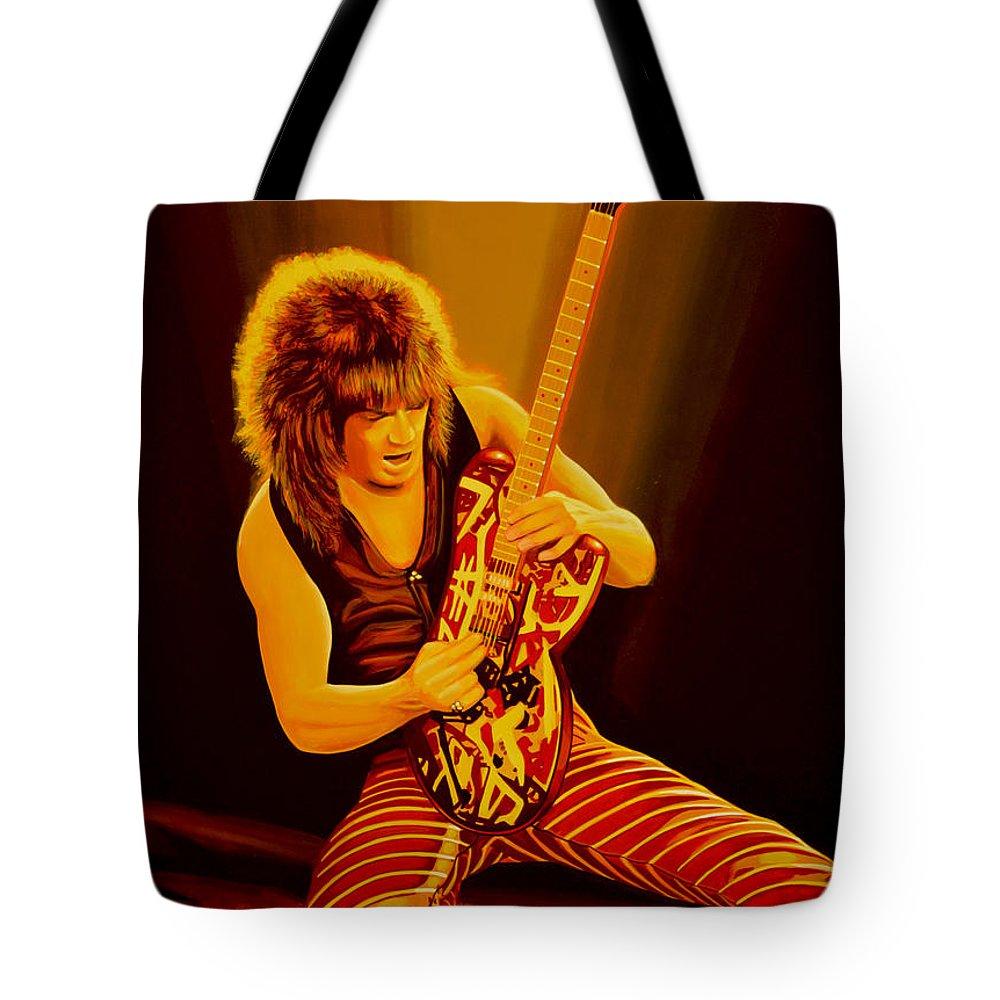Eddie Van Halen Tote Bag featuring the painting Eddie van Halen Painting by Paul Meijering
