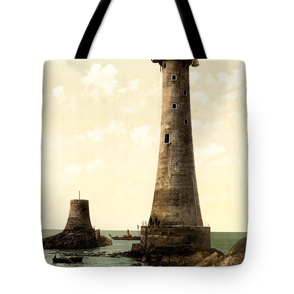 Eddystone Tote Bag featuring the photograph Eddystone Lighthouse Plymouth England by Bill Cannon