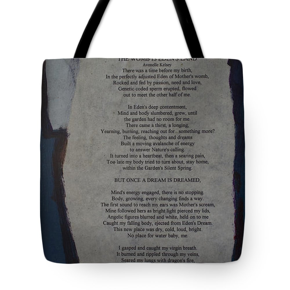 Eden's Womb Poem Collage Tote Bag