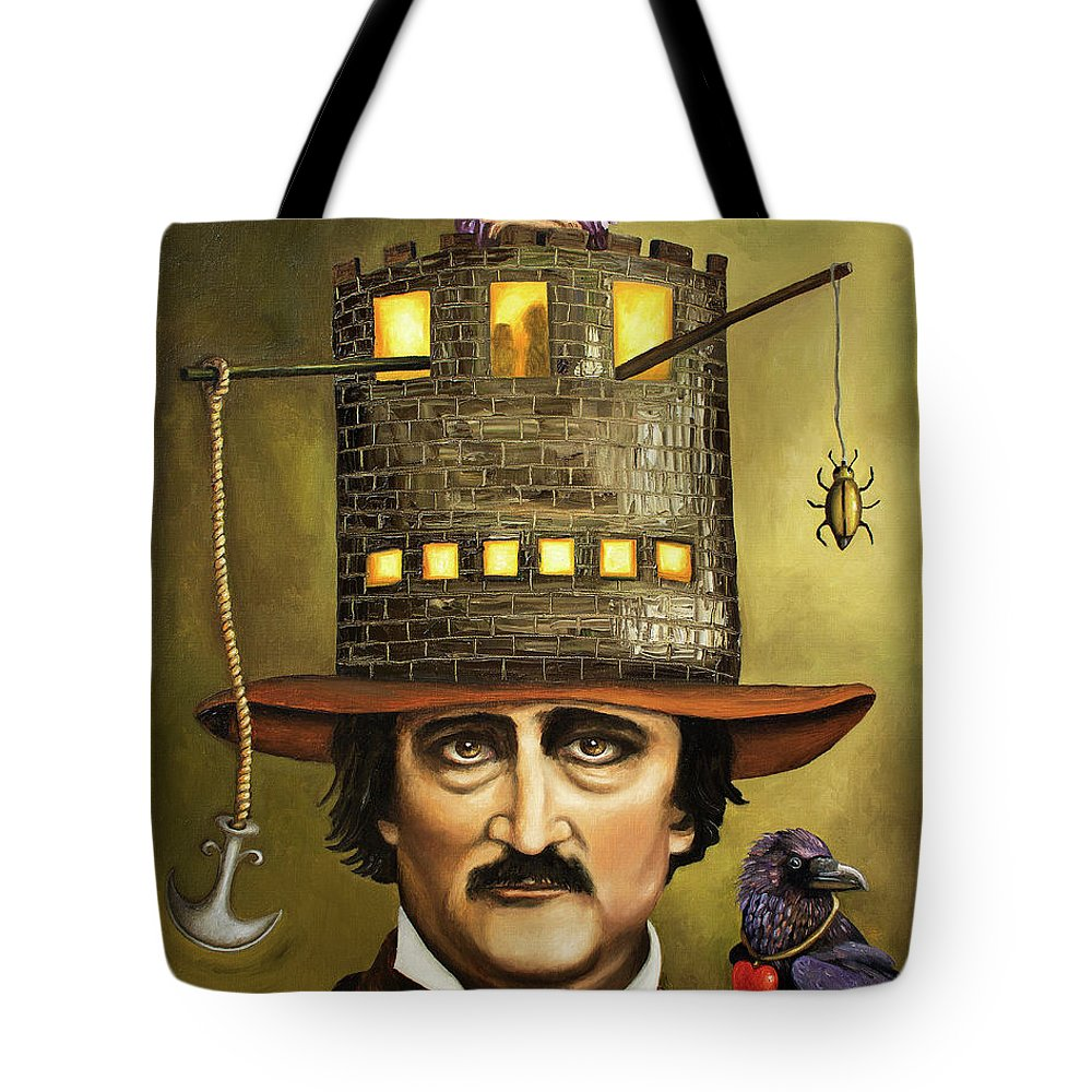 Poe Tote Bag featuring the painting Edgar Allan Poe by Leah Saulnier The Painting Maniac