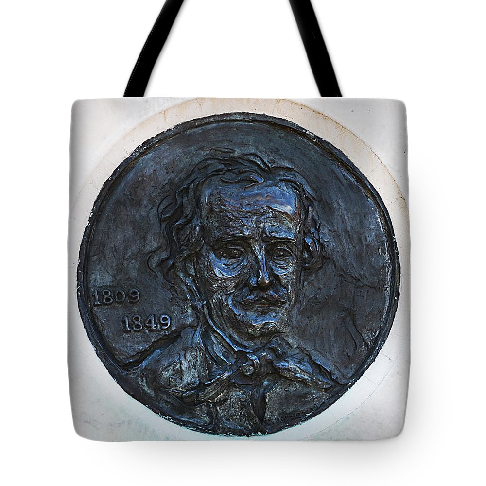 Edgar Tote Bag featuring the photograph Edgar Allen Poe 1809 - 1849 by Bill Cannon