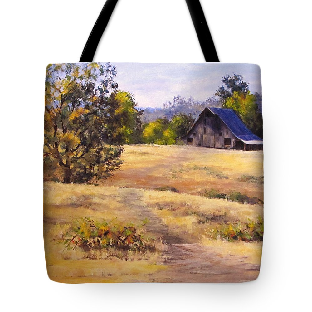 Landscape Tote Bag featuring the painting Edge of Autumn by Karen Ilari