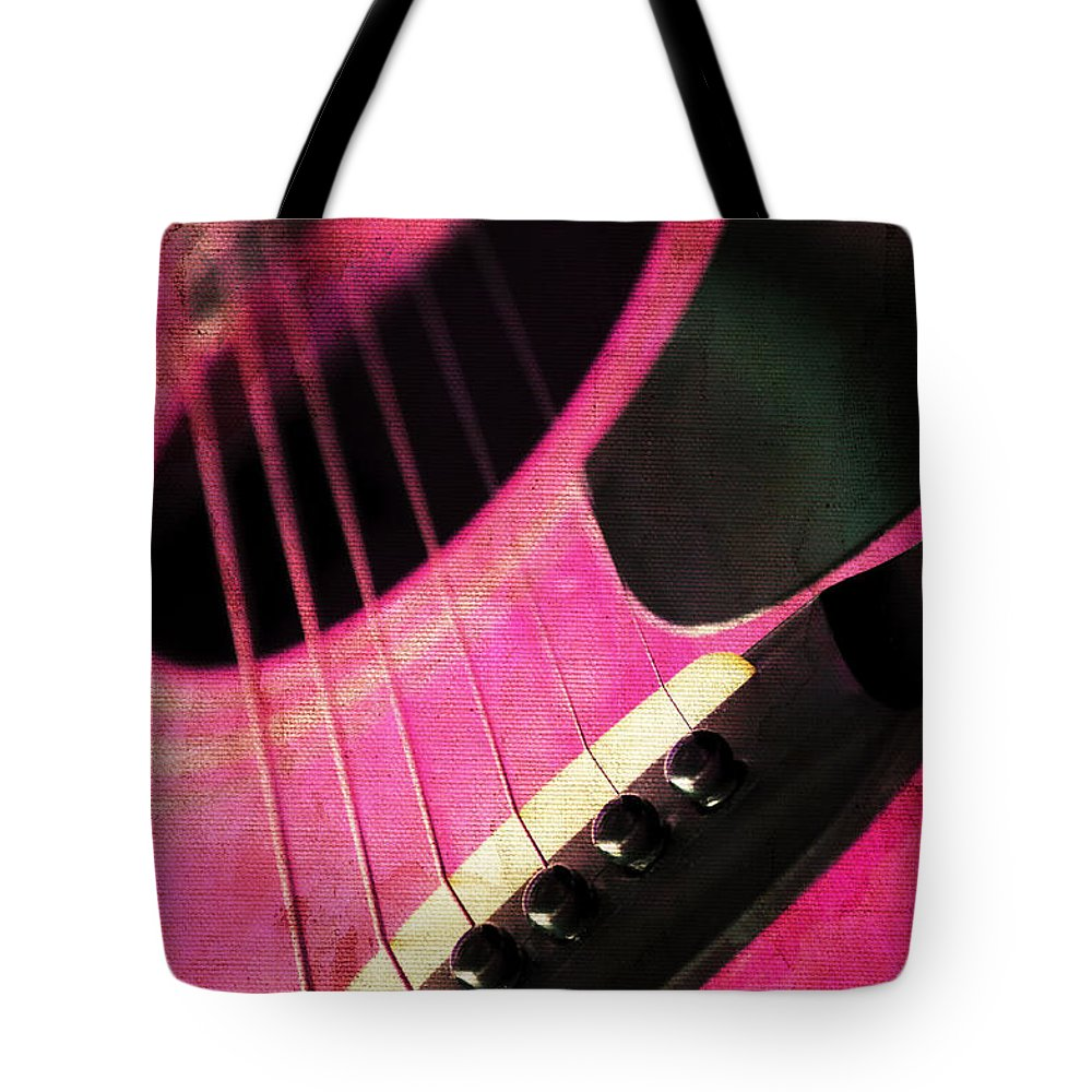 Andee Design Guitar Tote Bag featuring the photograph Edgy Pink Guitar by Andee Design
