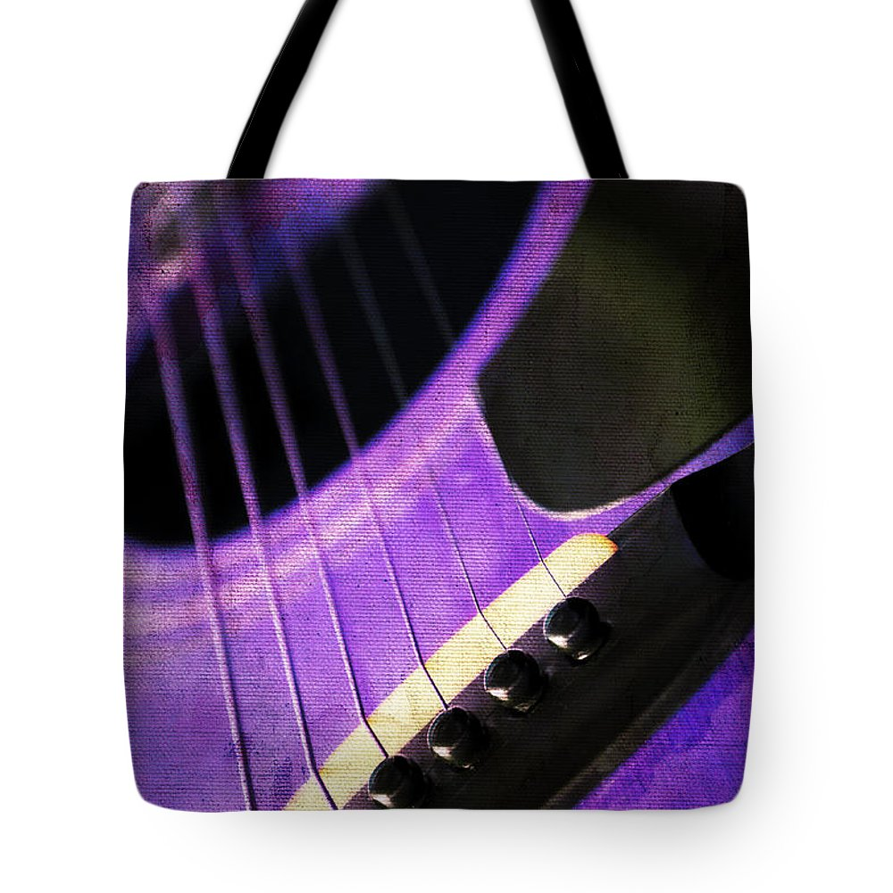 Andee Design Guitar Tote Bag featuring the photograph Edgy Purple Guitar by Andee Design