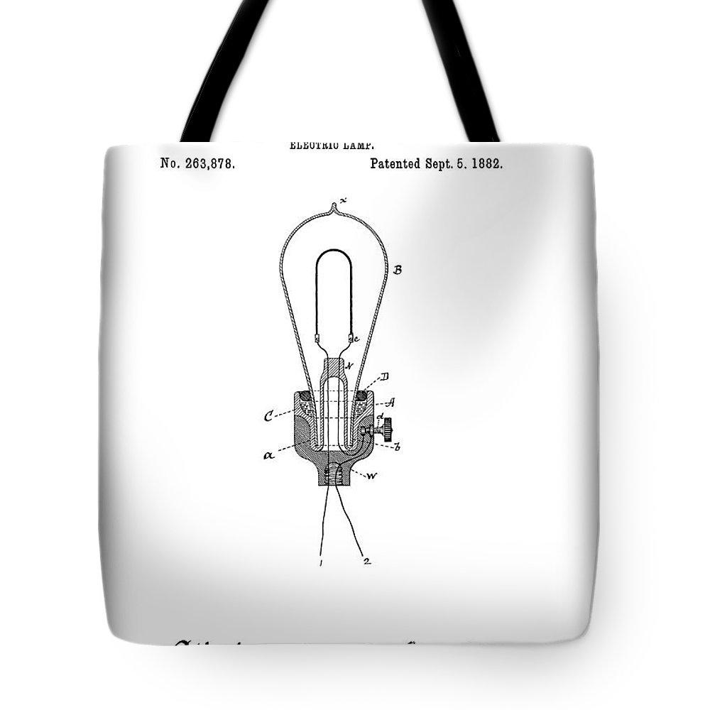 �light Bulbs� Tote Bag featuring the digital art Edison Electric Lamp Patent 1882 by Daniel Hagerman
