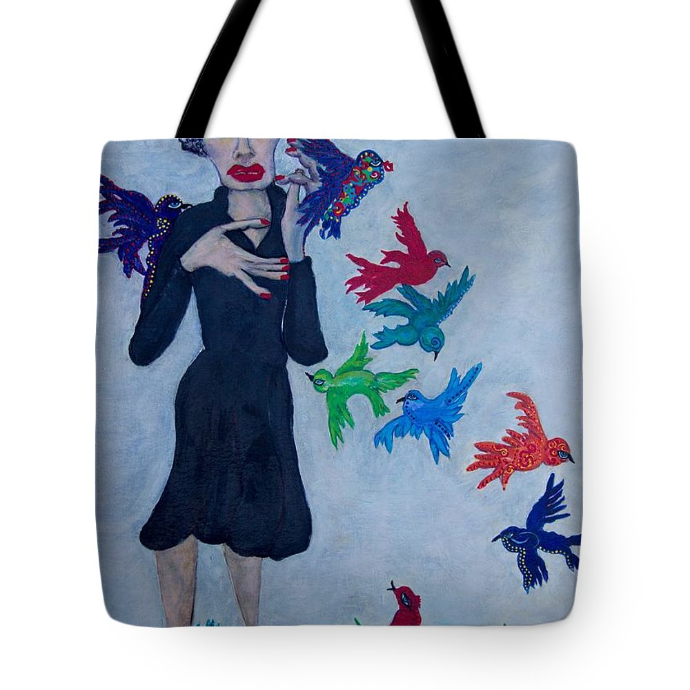 Blue Tote Bag featuring the painting Edith Piaf The Little Sparrow by Suzanne Macdonald