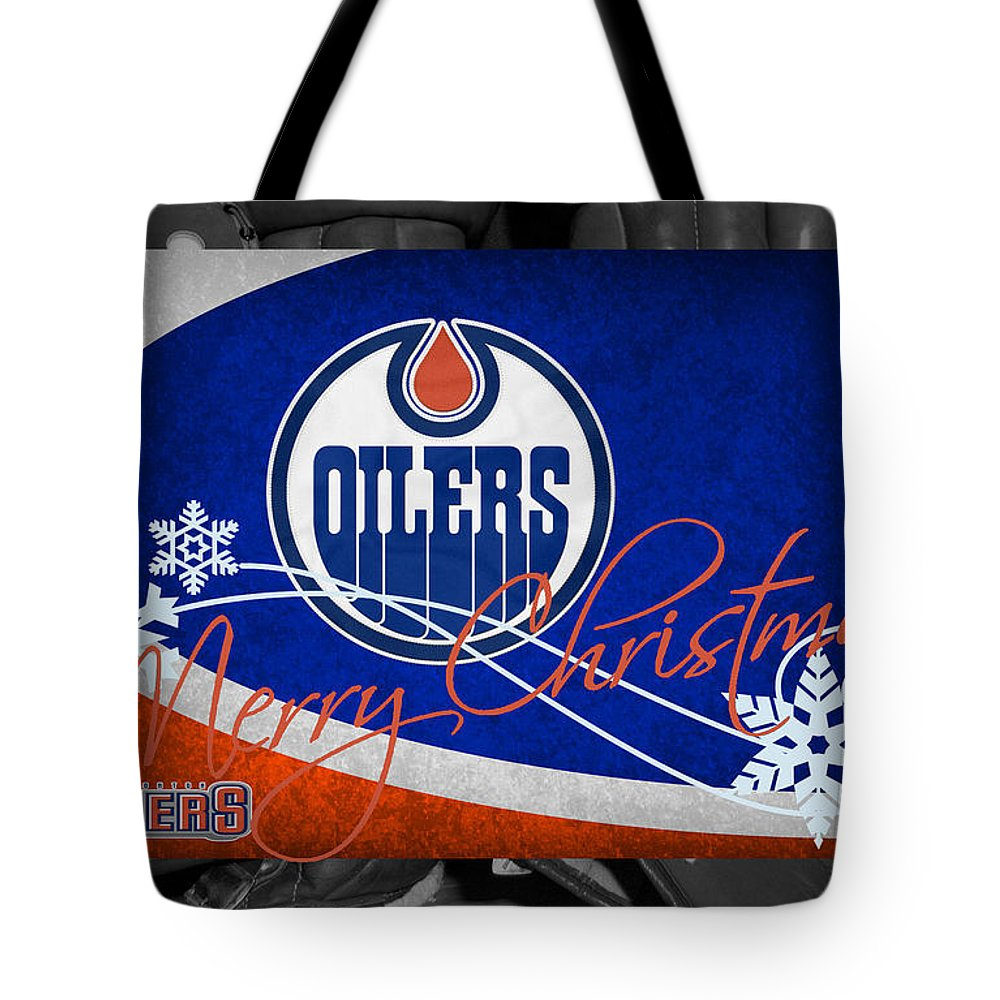 Oilers Tote Bag featuring the photograph Edmonton Oilers Christmas by Joe Hamilton