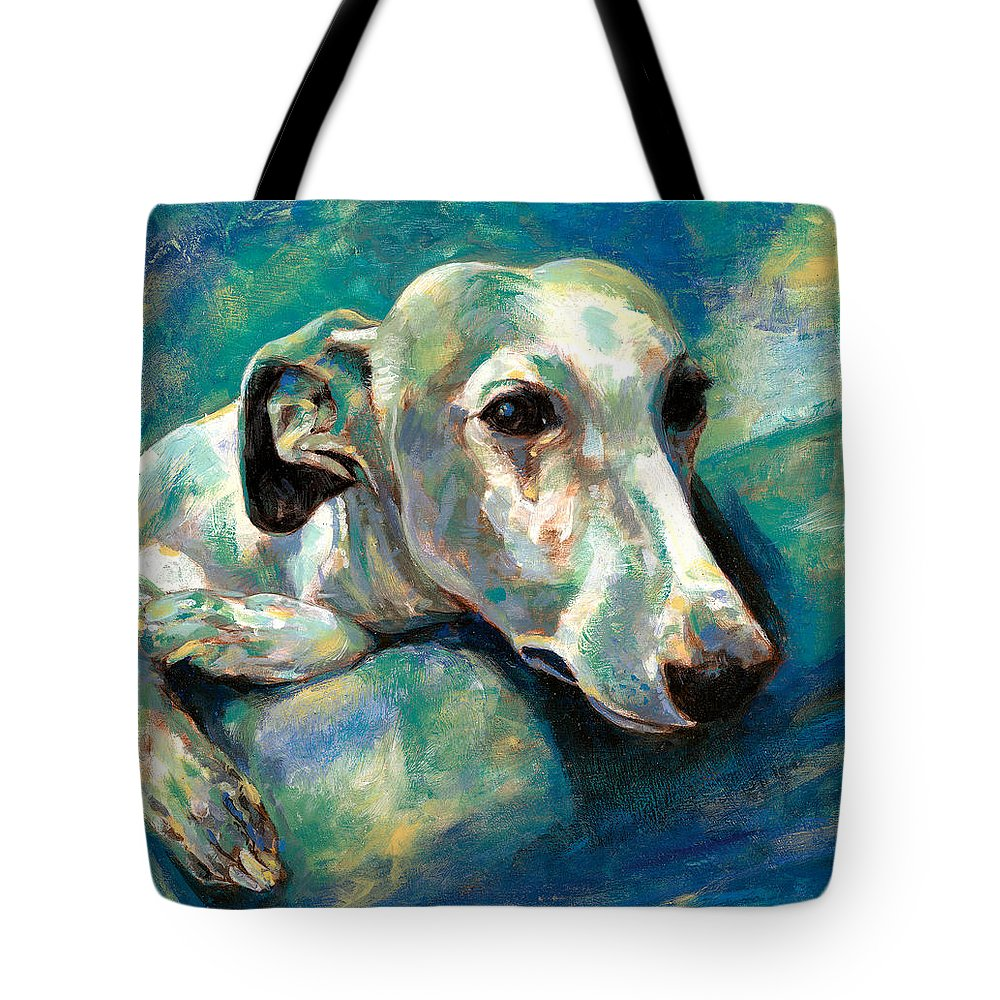Whippet Paintings Tote Bag featuring the painting Effects Of Gravity 1 by Derrick Higgins