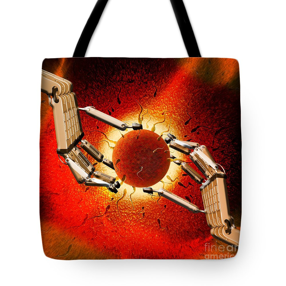 Cloning Tote Bag featuring the photograph Egg Sperm Robot Hands by Mike Agliolo