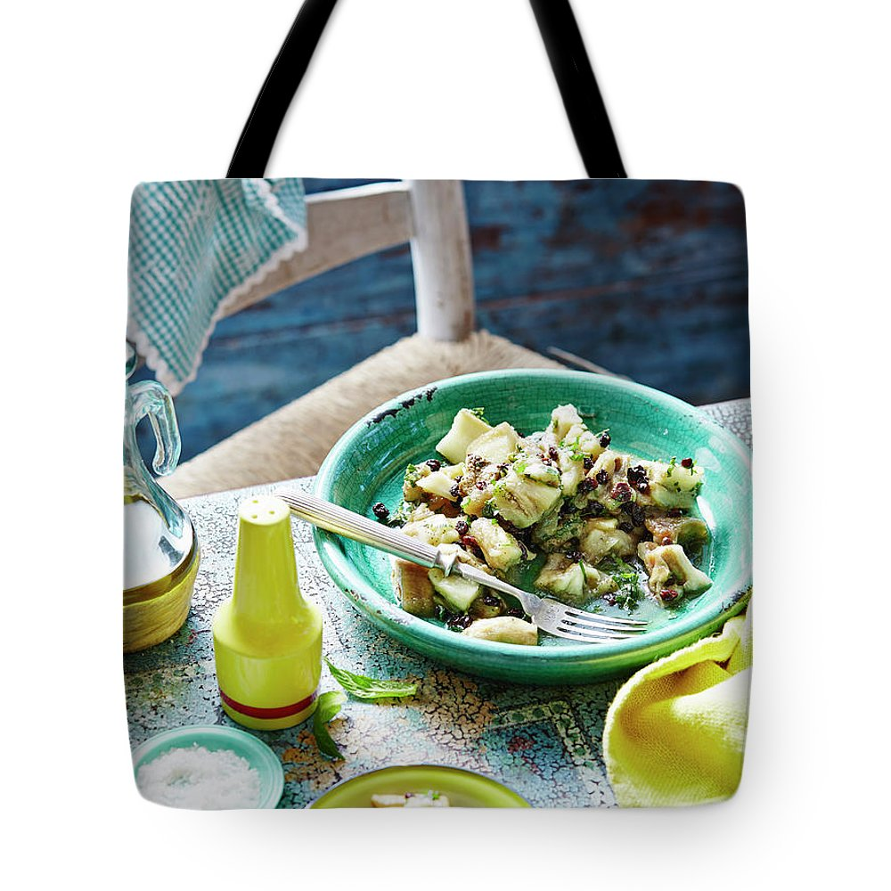 Temptation Tote Bag featuring the photograph Eggplant, Mint And Sultana Salad by Brett Stevens