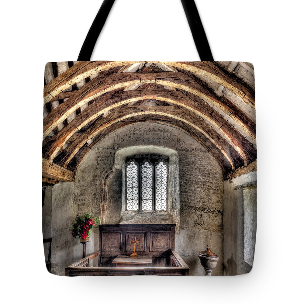 British Tote Bag featuring the photograph Eglwys Celynnin Sant by Adrian Evans