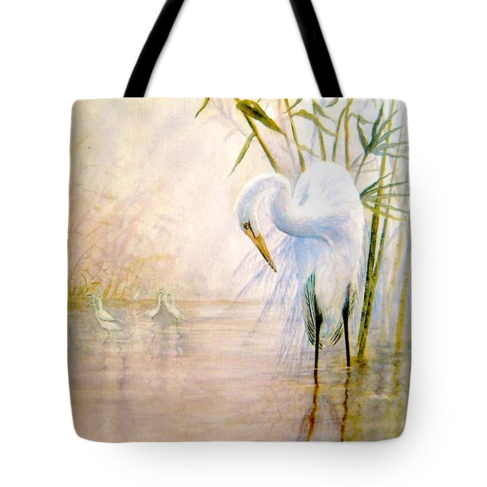 Eret; Bird; Low Country Tote Bag featuring the painting Egret by Ben Kiger