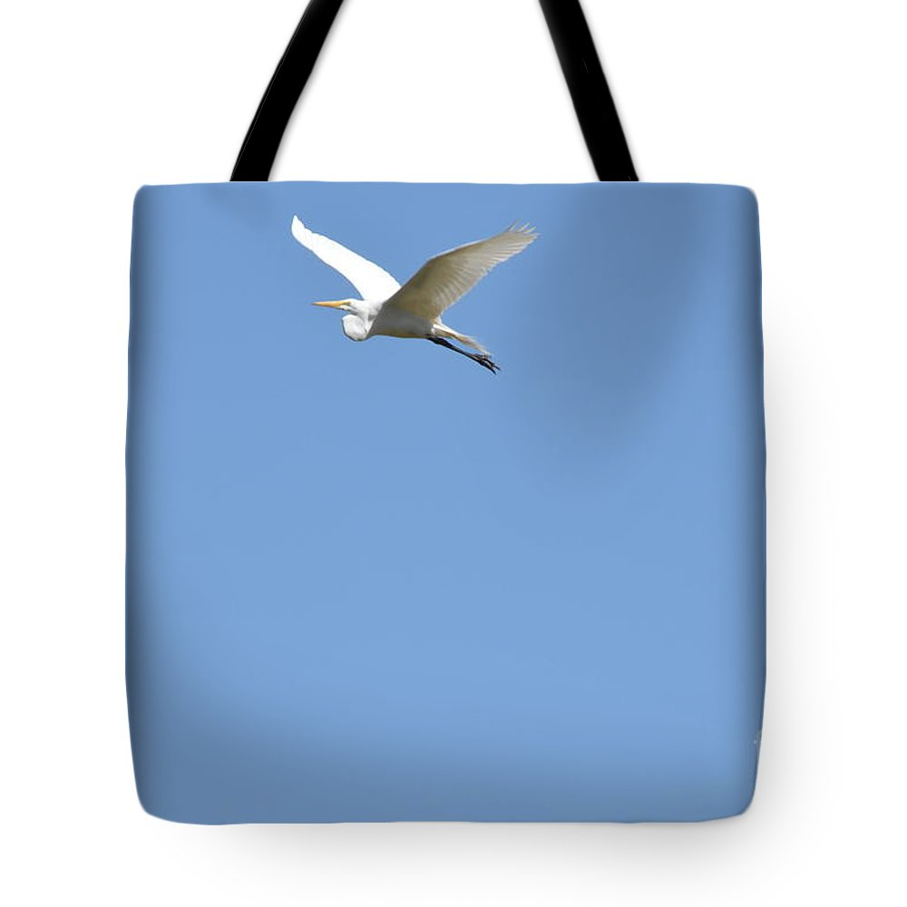Egret Tote Bag featuring the photograph Egret Takes Flight by Kathy Vilim