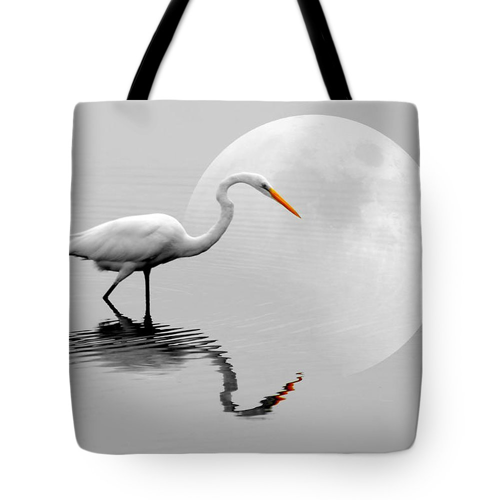 Bird Tote Bag featuring the photograph Egret With Moon by Diana Angstadt