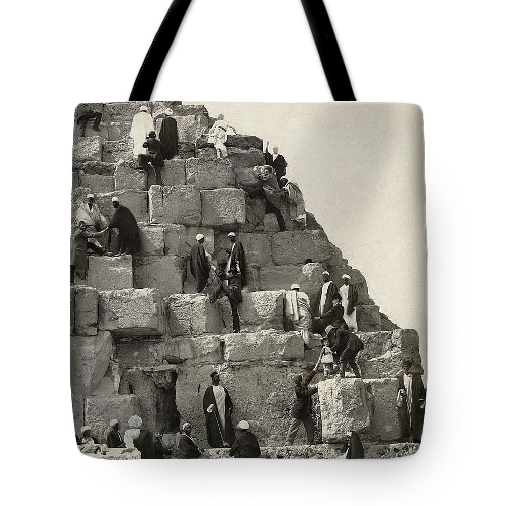 19th Century Tote Bag featuring the photograph Egypt: Pyramid Tourists by Granger