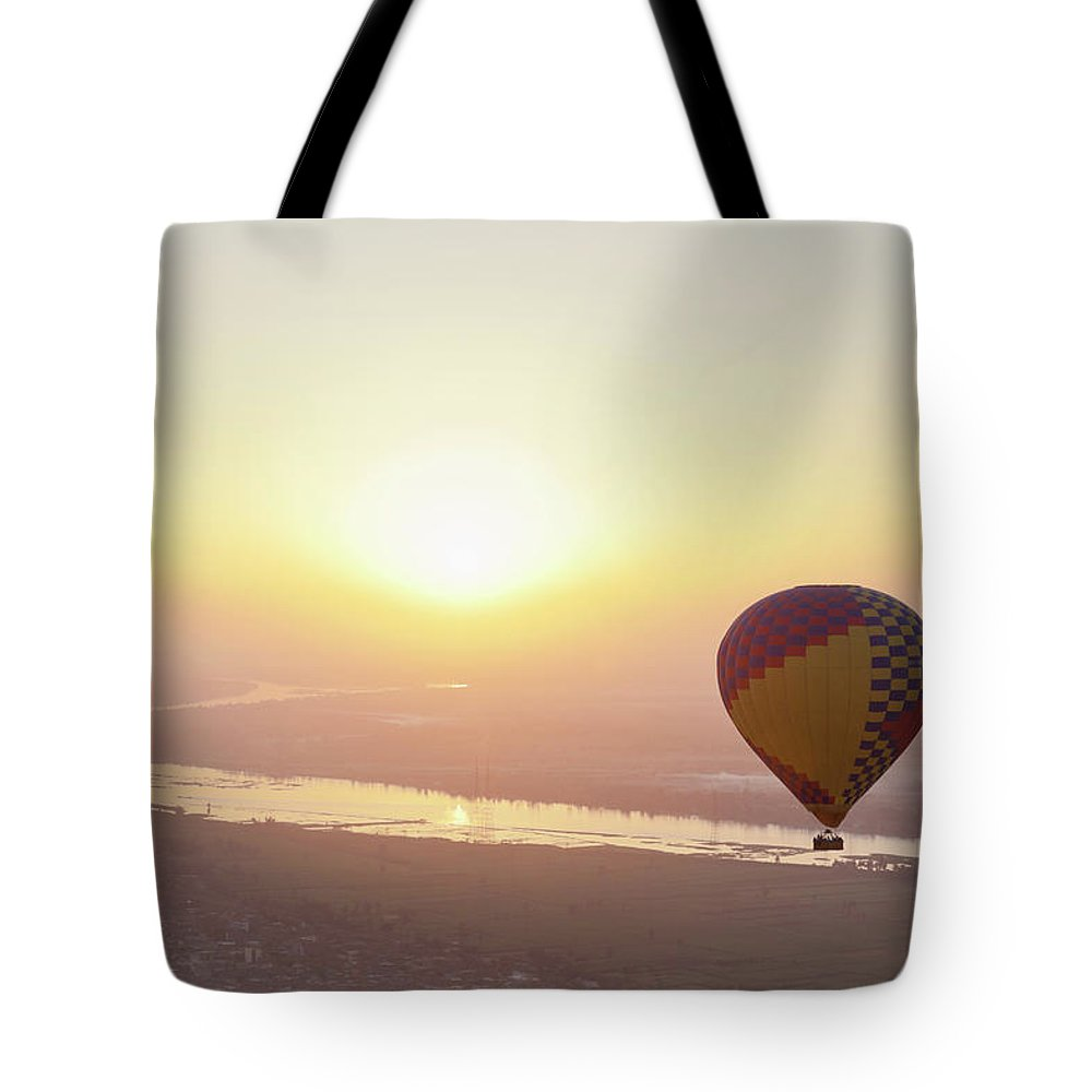 Luxor Tote Bag featuring the photograph Egypt, View Of Hot Air Balloon Over by Westend61