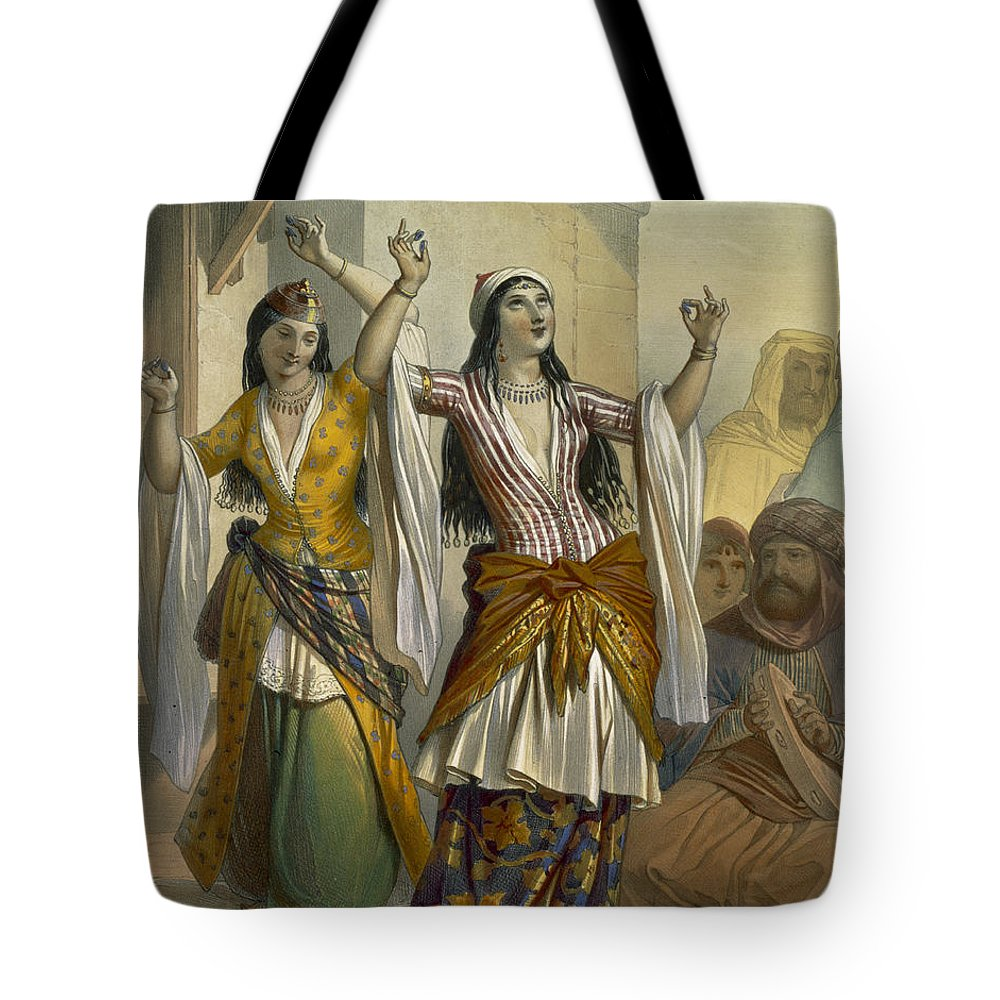 Print Tote Bag featuring the drawing Egyptian Dancing Girls Performing by Emile Prisse d'Avennes