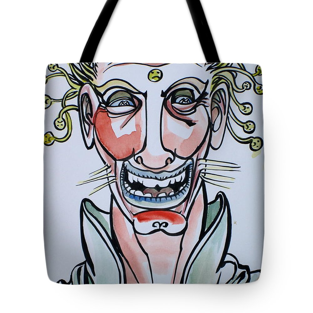 Smiling Tote Bag featuring the drawing Eh Boy by Fabrizio Cassetta