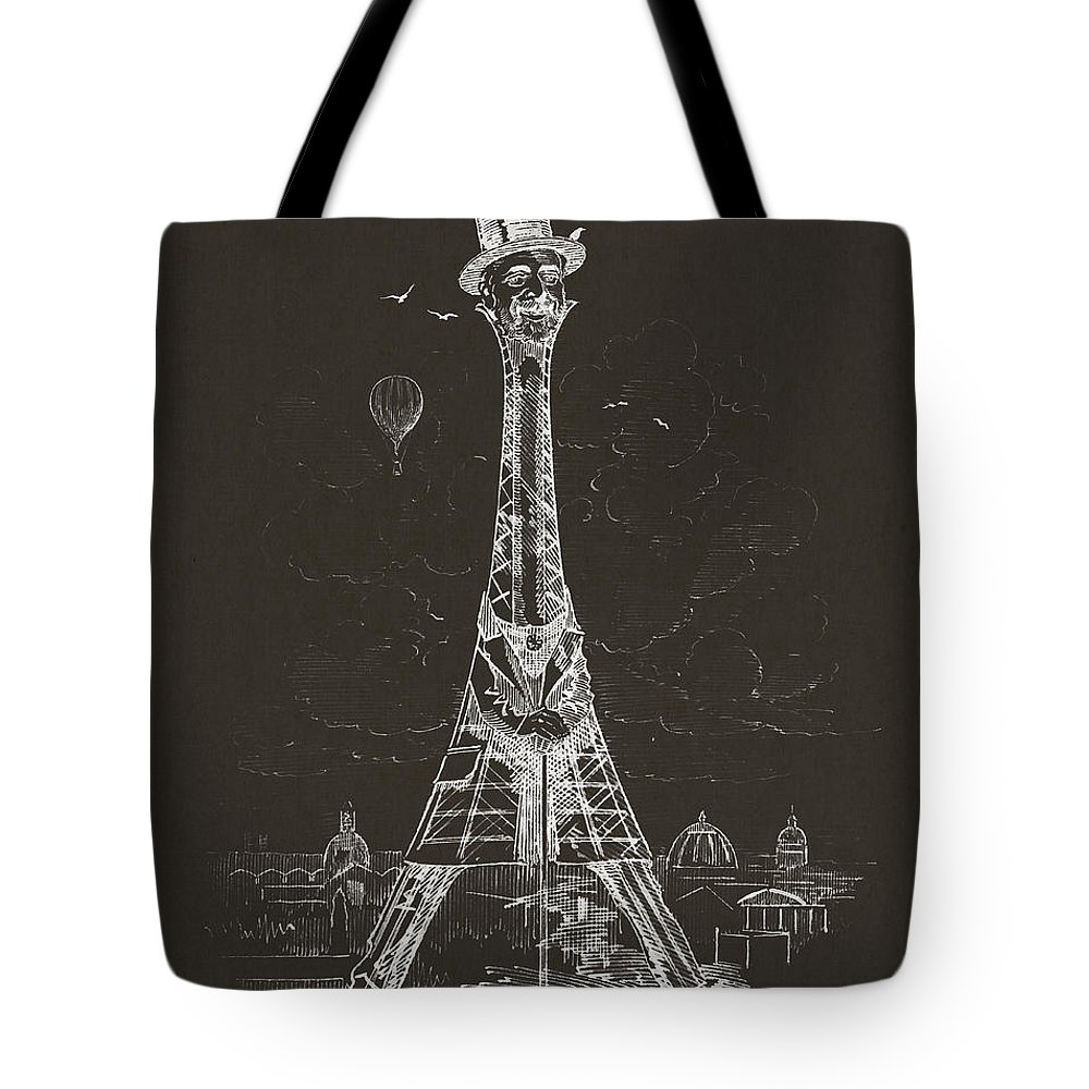 Eiffel Tower Tote Bag featuring the digital art Eiffel Tower by Aged Pixel