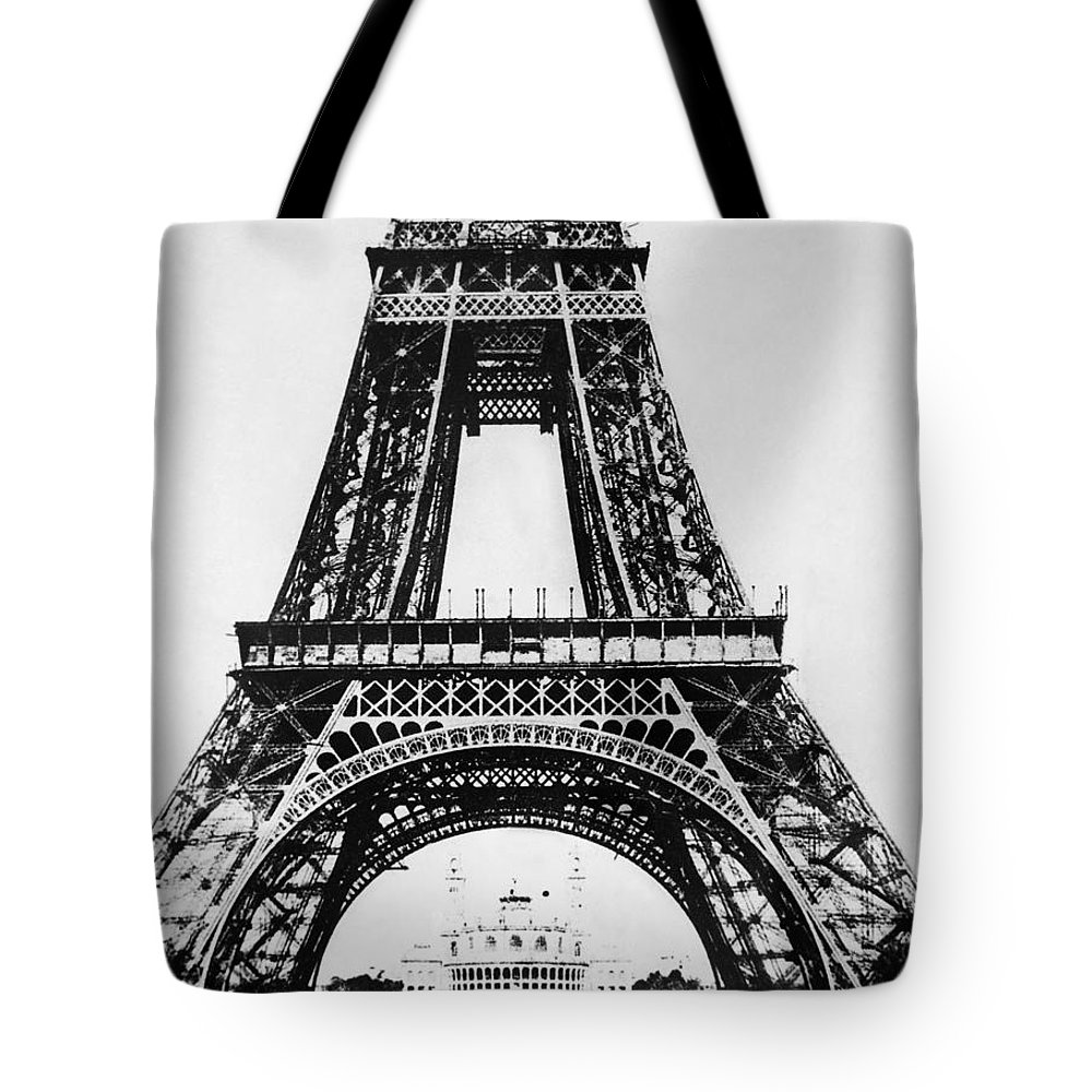 1888 Tote Bag featuring the photograph Eiffel Tower Construction by Granger