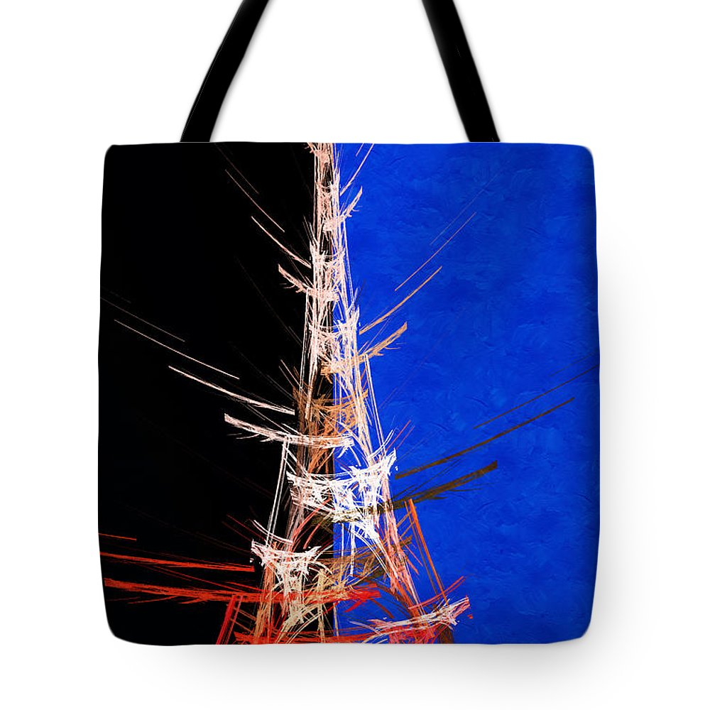 Abstract Tote Bag featuring the digital art Eiffel Tower In Red On Blue Abstract by Andee Design