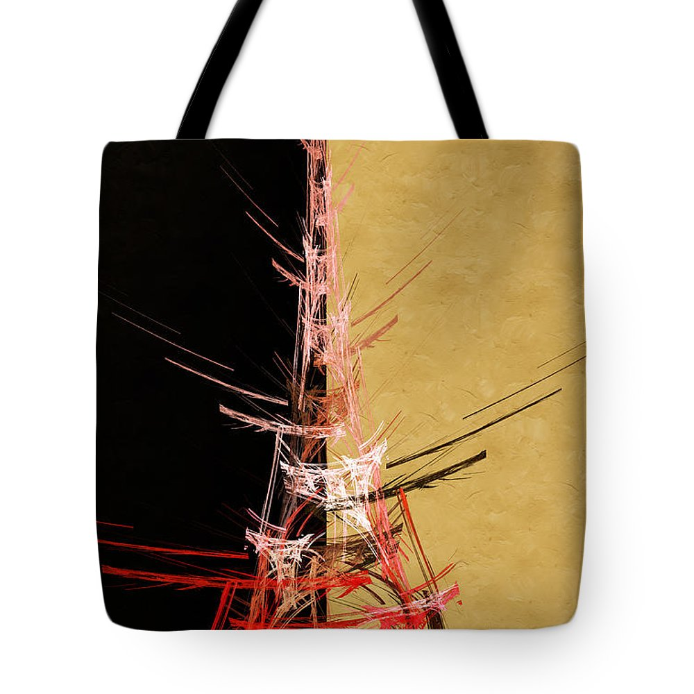 Abstract Tote Bag featuring the digital art Eiffel Tower In Red On Gold Abstract by Andee Design