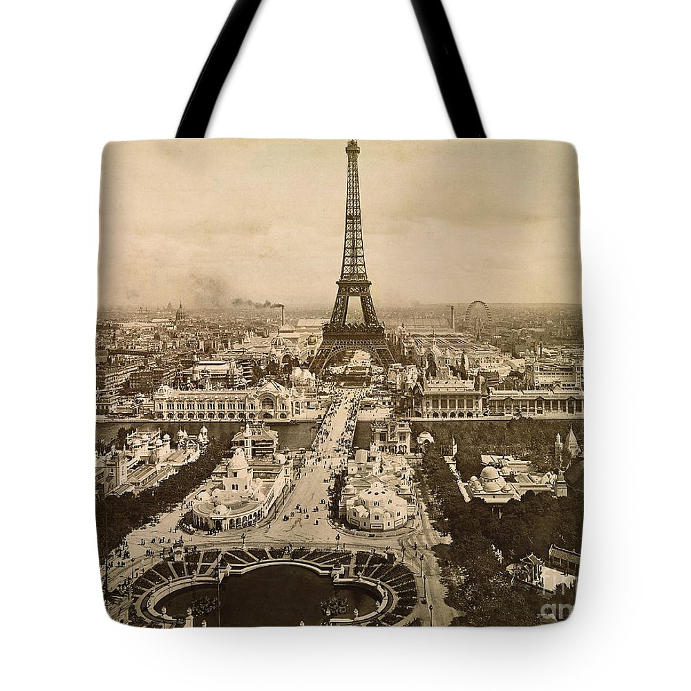 1900 Tote Bag featuring the photograph Eiffel Tower, Paris, 1900 by Granger