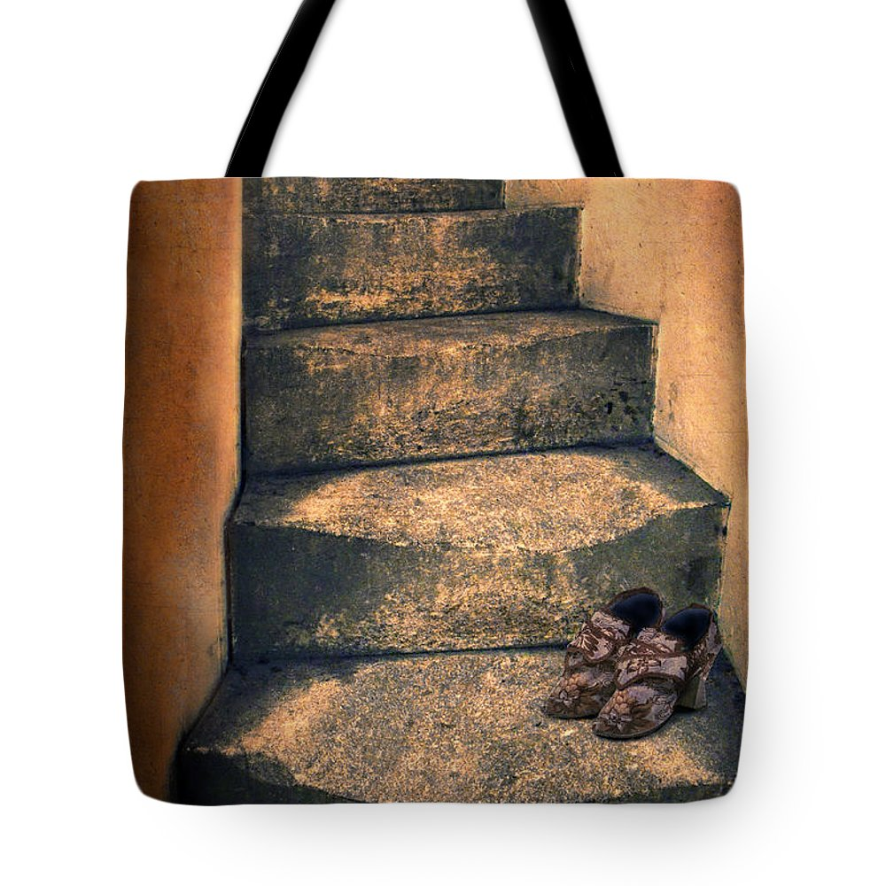 Stairs Tote Bag featuring the photograph Eighteenth Century Shoes On Old Stairway by Jill Battaglia