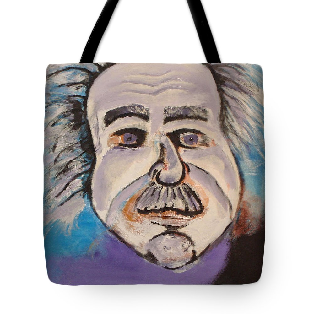 Rick Huotari Tote Bag featuring the painting Einstein by Rick Huotari