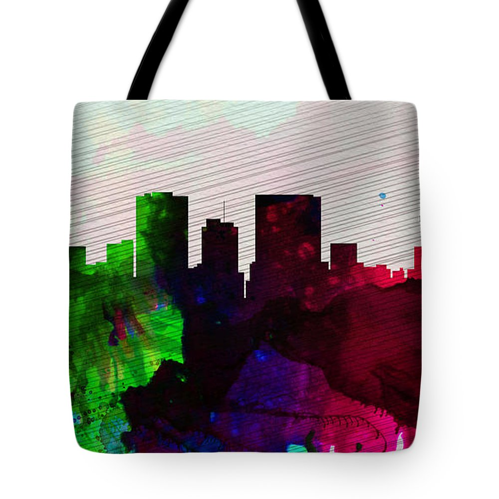 El Paseo Tote Bag featuring the painting El Paseo City Skyline by Naxart Studio